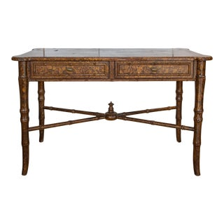 20th Century Boho Chic Bamboo Desk With Tortoise Finish For Sale