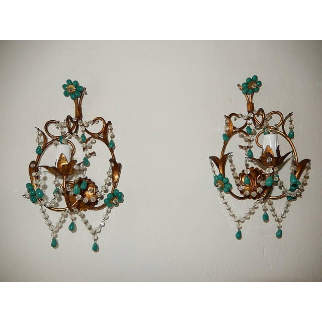 French Turquoise Green Murano Beads Rock Crystal Swags Sconces For Sale - Image 10 of 10