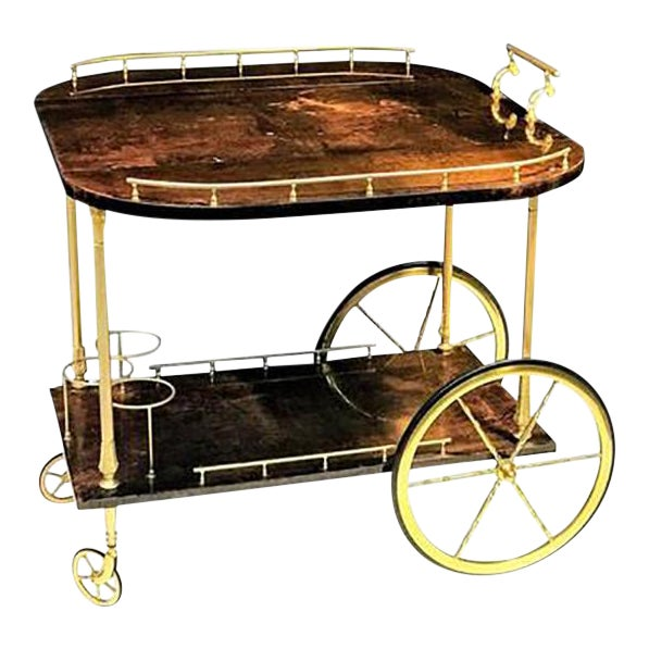 Unusual and Stunning Chocolate Goatskin Bar Cart by Aldo Tura For Sale