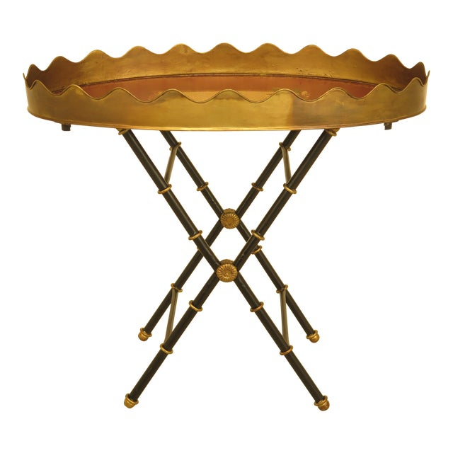 Traditional Sarried Tole Paint Decorated Serving Tray Table For Sale