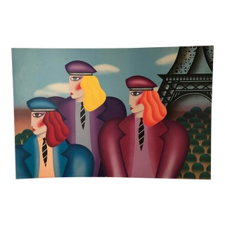 """1990's Vintage Robin Morris """"Paris Rage"""" Signed and Numbered Print For Sale"""