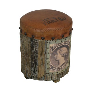 Round Rustic Style Leather Seat Stool For Sale