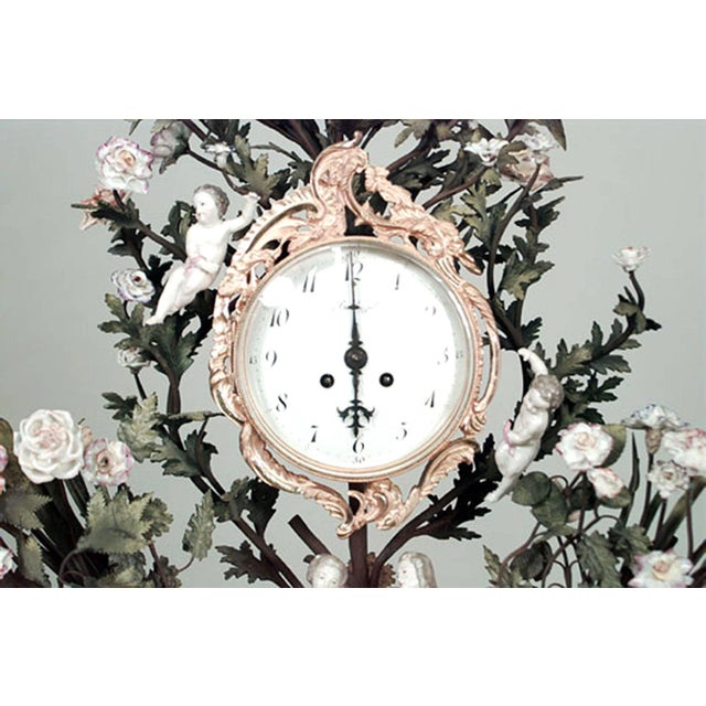 Louis XV French Louis XV Style '19th Century' Porcelain Floral Decorated Mantel Clock For Sale - Image 3 of 6