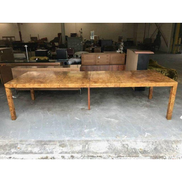 Milo Baughman for Directional Burl Wood Parsons Dining Table with Two Boards - Image 3 of 10