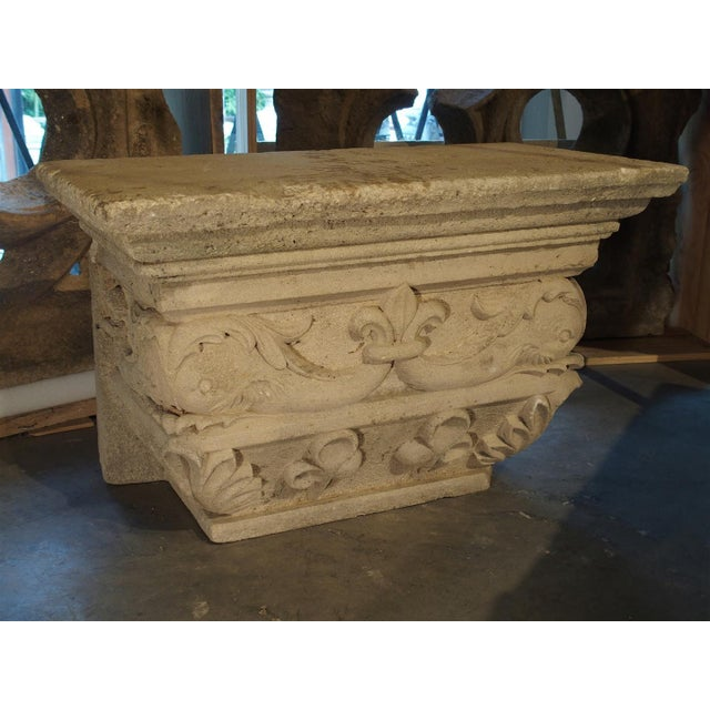 This fabulous antique French statuary pedestal has been made from a limestone quarried around Savonnières-en-Perthois...