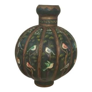 Hand Painted Metalware Floor Vase For Sale