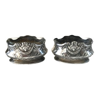 Antique French Sterling Silver and Crystal Salt Cellars or Salieres - a Pair For Sale