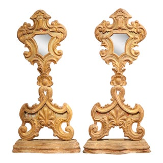 Early 19th Century Italian Carved and Gilt Church Mirrors on Stand - a Pair For Sale