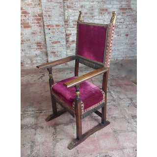 Spanish Revival Renaissance Antique Red Velvet Upholstered High Back Chairs -A Pair Preview