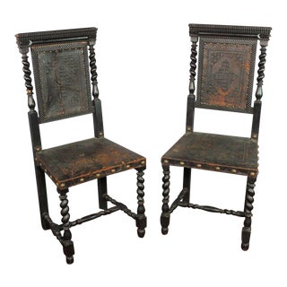 18th C. Baroque Ebonized Leather Chairs - A Pair For Sale
