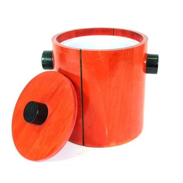 Mid 20th Century Mid-Century Modern Ice Bucket in Red & Black Wood For Sale - Image 5 of 8