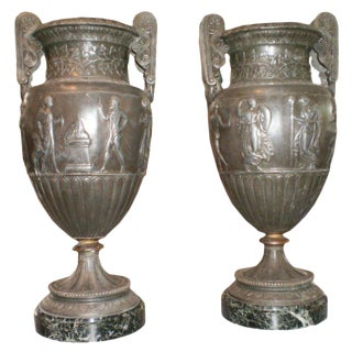 1920s Antique French Neoclassical Style Urns - A Pair For Sale
