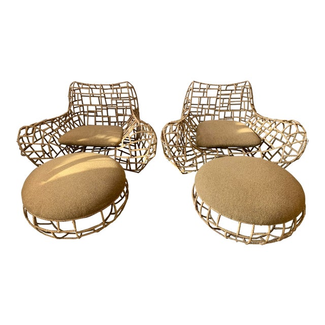 1970s Vintage Marine Rope Club Chairs and Ottomans - 4 Pieces For Sale