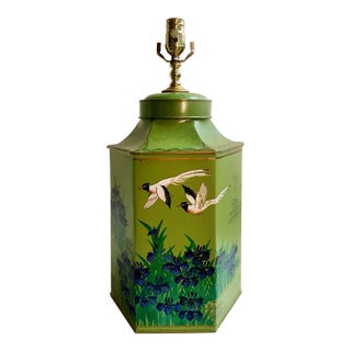 Vintage Japanese Style Tea Canister Lamp For Sale