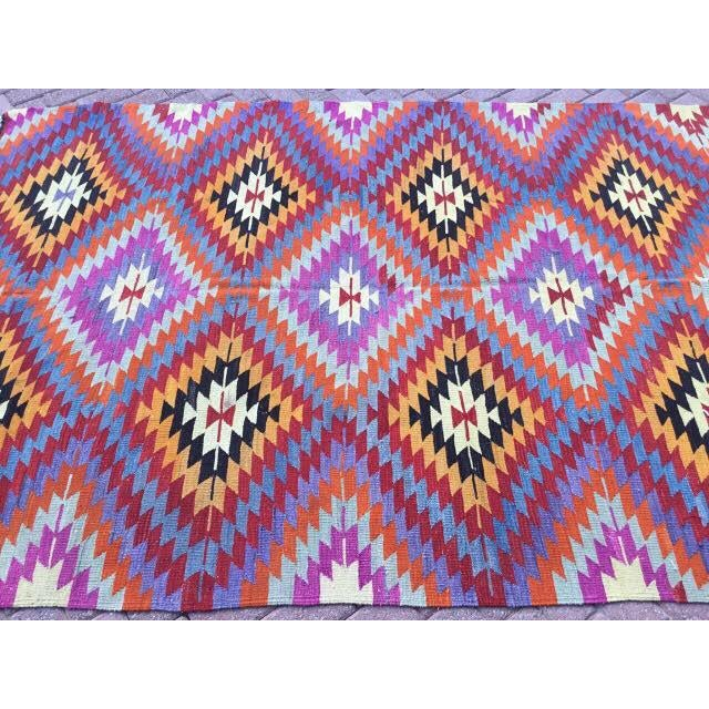 Colorful Turkish Kilim Rug For Sale - Image 4 of 8
