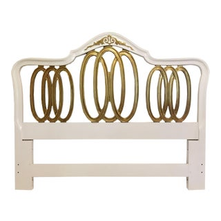 1970s Vintage White Furniture Company French Provincial Inspired Queen Headboard For Sale
