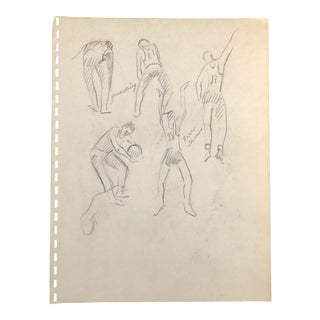 1950s Basketball Players Drawing For Sale