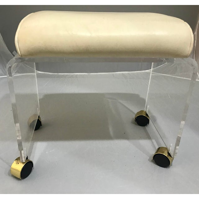 1970s Vintage Lucite Vanity Bench Stool For Sale In West Palm - Image 6 of 7