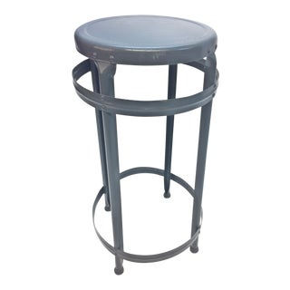 Vintage Industrial Gray Metal Stool