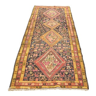 Noahs Ark Semi Antique Turkish Rug - 3′5″ × 11′2″ For Sale