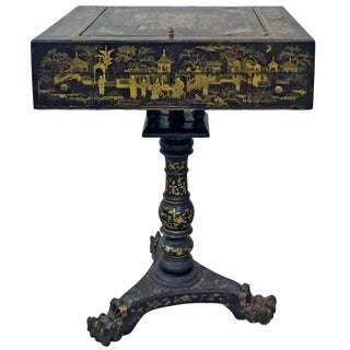19th Century French Napoleon III Chinoiserie Decorated Games Table For Sale