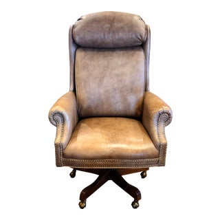 Ethan Allen Leather Executive Office Chair For Sale