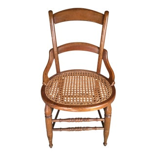 Antique Cane Seat Ladder Back Chair For Sale