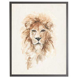 "Framed Watercolor Lion Print - 19"" X 25"""