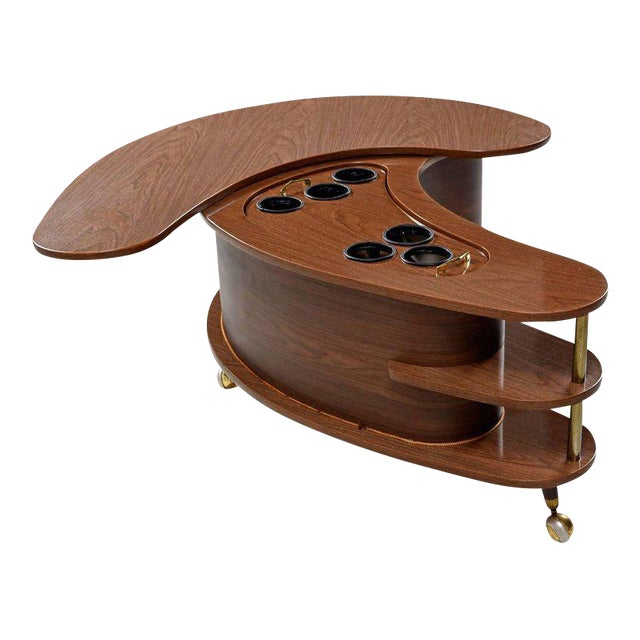 Grand Server Boomerang Kidney Shaped Walnut Coffee Table Bar Cabinet For Sale