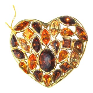 Yves St.Laurent Costume Heart Shaped Pin For Sale