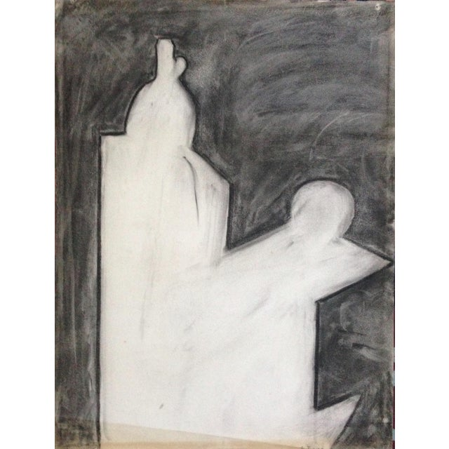 1970s Charcoal Abstract Drawing Signed For Sale