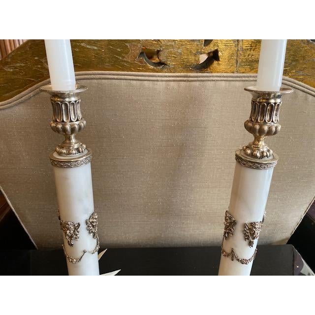 1900s - 1940s English Sterling & Marble Candles With Gargoyle Motif - a Pair For Sale In Los Angeles - Image 6 of 13