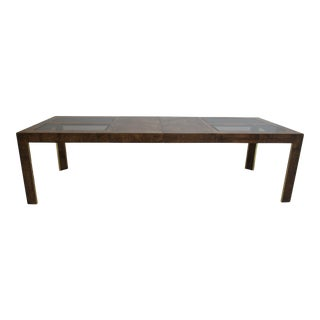 Vintage Mid-Century Modern Thomasville Burlwood Parson Dining Room Conference Table For Sale