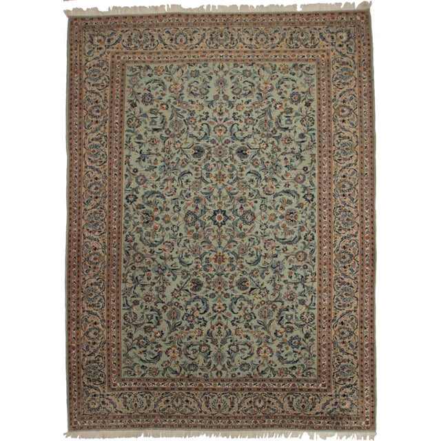 Persian Kashan Wool Rug - 8′11″ × 13′4″ For Sale