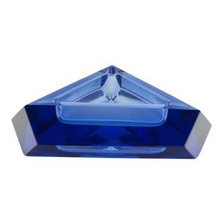 Vintage Triangular Faceted Klein Blue Crystal Ashtray