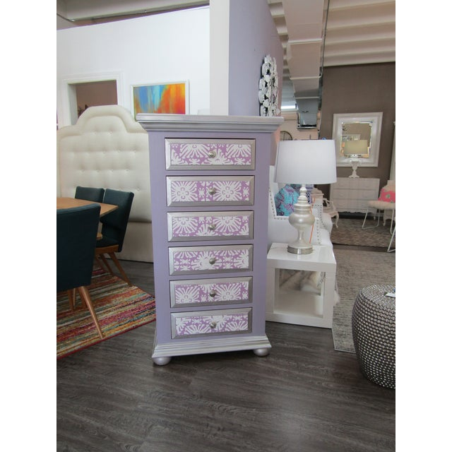 2000 - 2009 Boho Chic Broyhill Lavender Pine Highboy/Lingerie Chest For Sale - Image 5 of 5