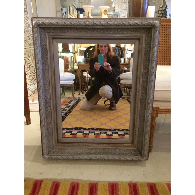 Traditional Gustavian Grey Carved Wood Mirror For Sale - Image 3 of 6
