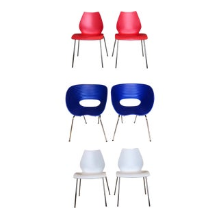 Modern Vico Magistretti and Ron Arad Red, White & Blue Dining Chairs- Set of 6 For Sale