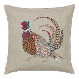 Cottage Pheasant Linen Pillow For Sale