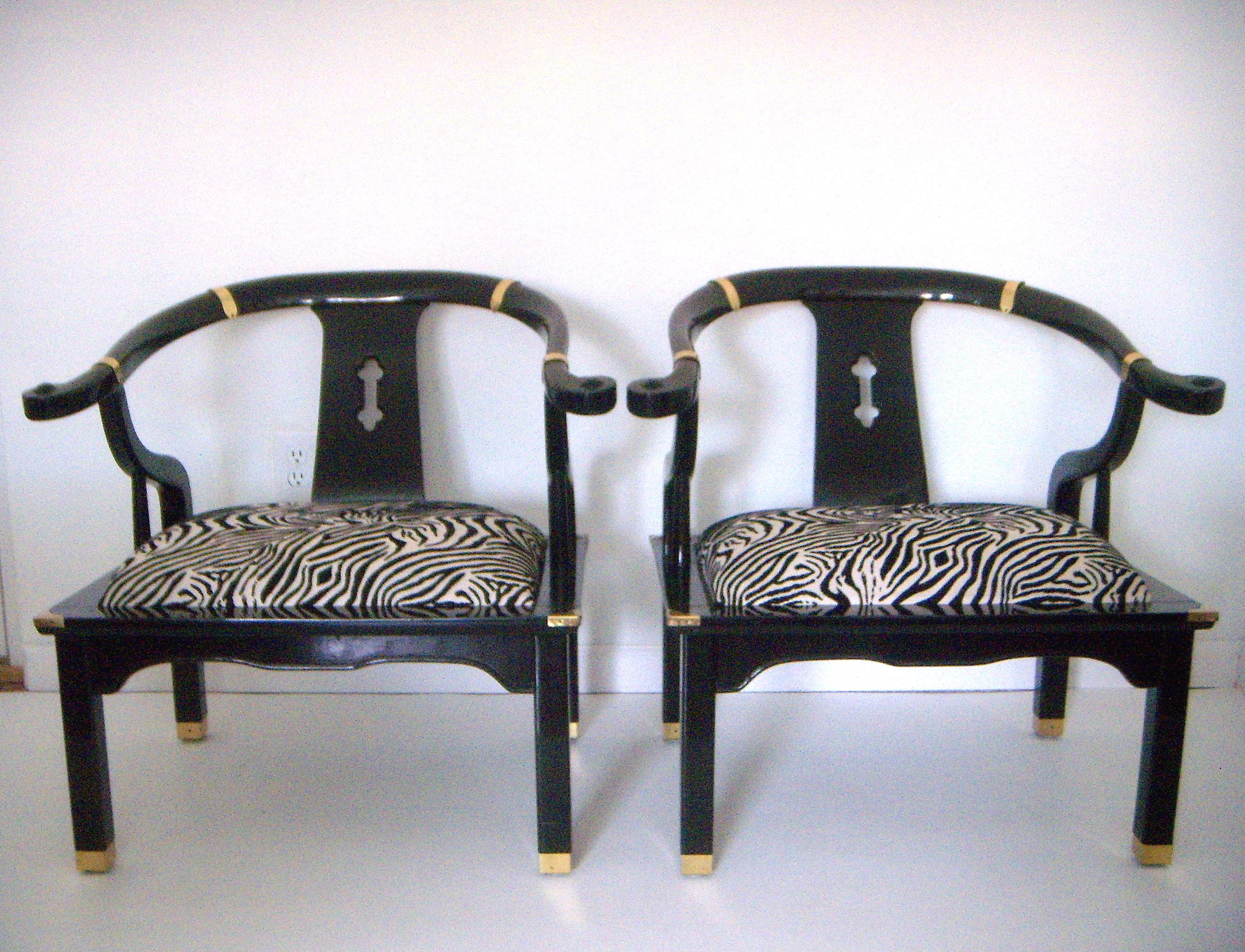 zebra arm chair. Black Lacquer Ming Style Zebra Arm Chairs - A Pair Image 2 Of 6 Chair L