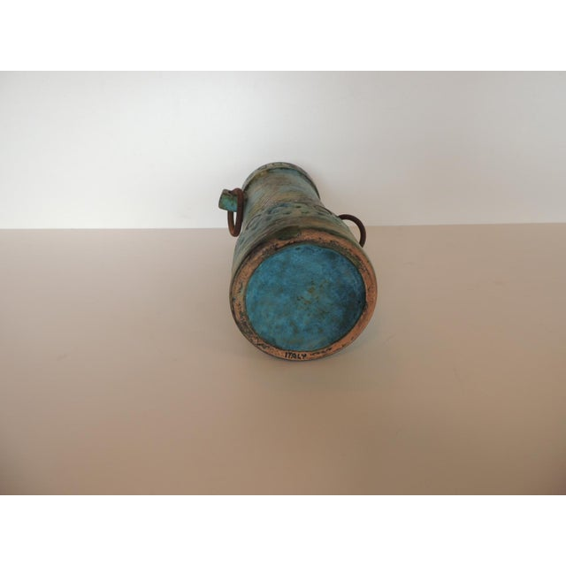 Mid-Century Modern Aqua and Green Hand Painted Pottery Vase With Iron Handles For Sale In Miami - Image 6 of 8