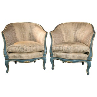 Late 19th Century Vintage Italian Gilt and Blue Wood Frame Chairs- a Pair For Sale