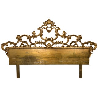1960s King-Size Italian Carved Wood Gilt Headboard For Sale