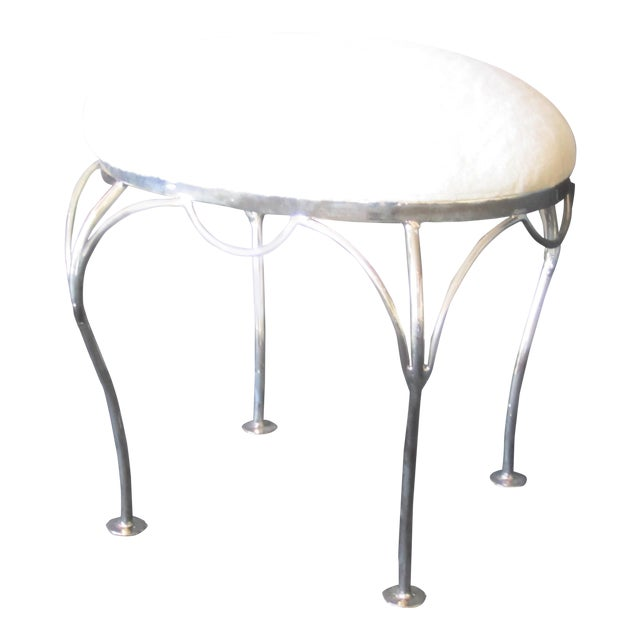 Nickel Plated and Shearling Vanity Stool For Sale