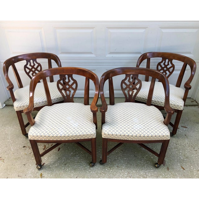 Drexel Heritage Chippendale Horseshoe Dining Chairs on Casters- Set of 4 For Sale - Image 13 of 13
