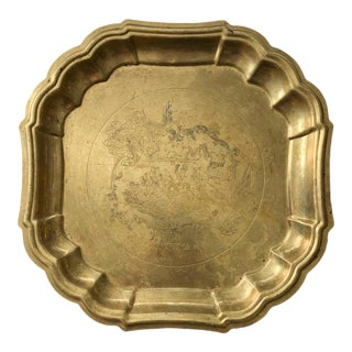 Chinoiserie Brass Tray or Wall Plaque For Sale