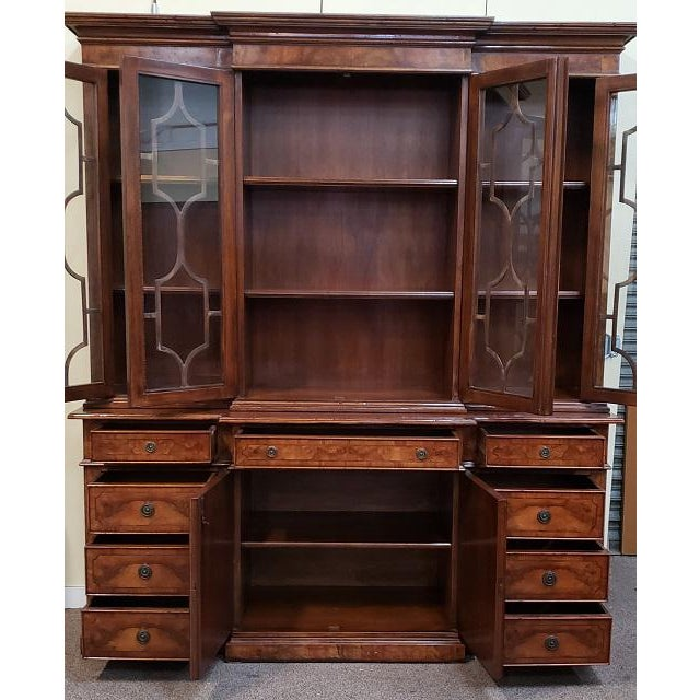 20th Century English Traditional Glazed Walnut Breakfront Cabinet For Sale - Image 11 of 13