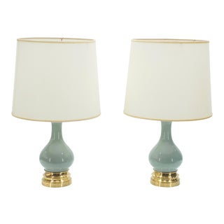 Mid-Century Pair of French Light Blue Ceramic and Brass Lamps 1960s For Sale