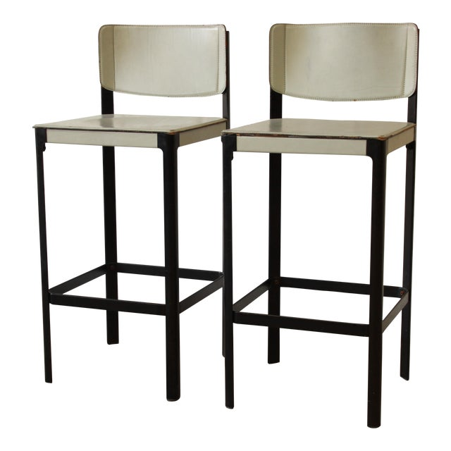 Mateo Grassi Sistina Italian Leather Counter Stools - A Pair For Sale