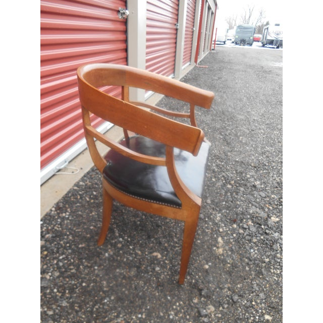 Mid-Century Modern Mid-Century Baker Furniture Studded Leather Asian Side Chair For Sale - Image 3 of 7